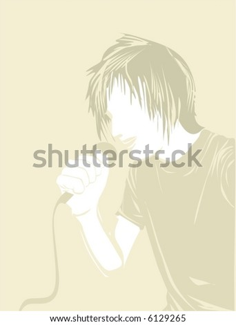 man singing at the microphone,vector illustration - stock vector