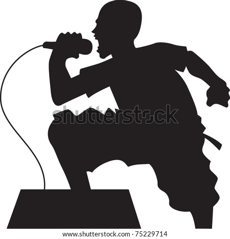 man singing silhouette - stock vector