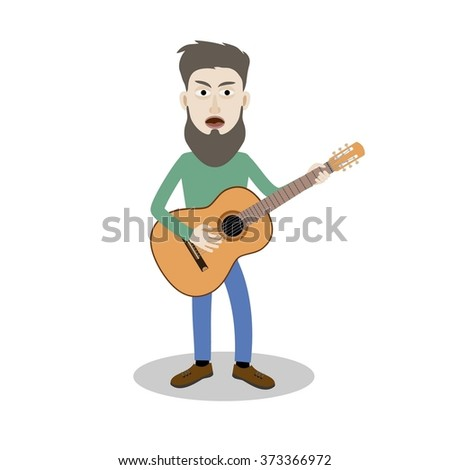 man sings and plays the guitar. Vector illustration. - stock vector
