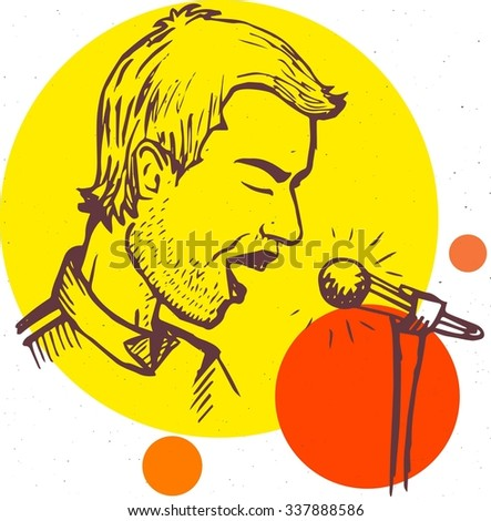 man sings or speaks into the microphone, vector illustration, sketch - stock vector