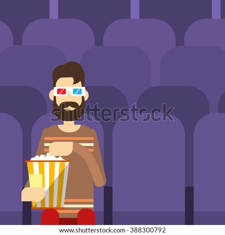 Man Sit Watching Movie In Cinema 3d Glasses With Popcorn Flat Vector Illustration - stock vector