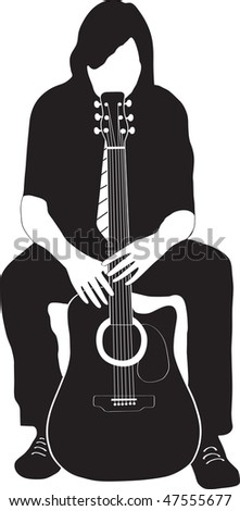 man sits and hugs his guitar - stock vector