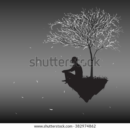 man sits on flying rock look at falling cherry white leaves and think about sense of human life, silhouettes of people in the dream land, vector - stock vector