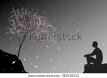 man sits on the rock, look at falling cherry pink leaves and think about sense of human life, zen meditation near the sacura, vector - stock vector