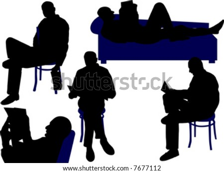 man sitting and reading newspaper - stock vector