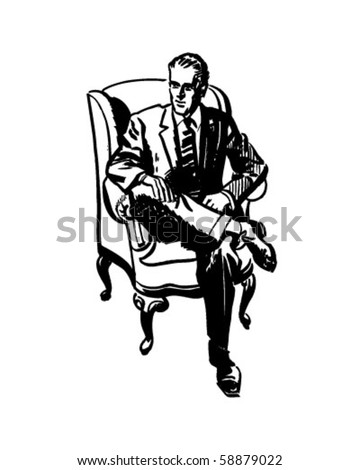 Man Sitting In Armchair - Retro Clip Art - stock vector