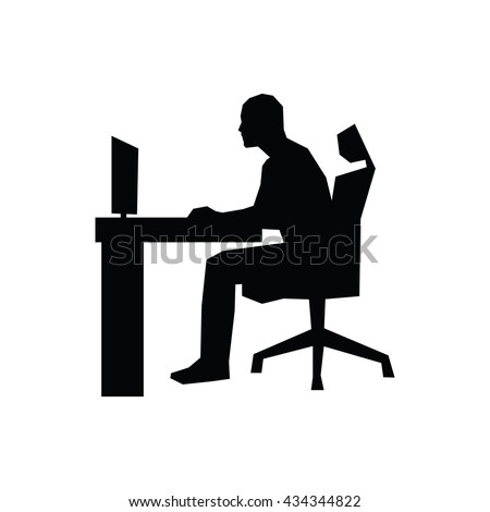 Man Sitting On Office Chair Table Stock Vector 434344822 ...
