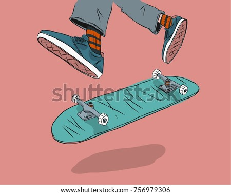 Man skateboarders performing tricks vector illustration