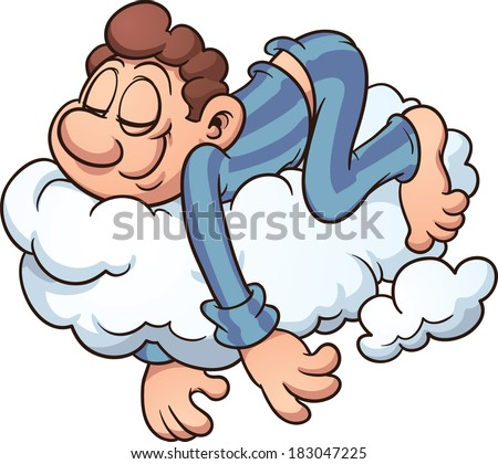 Man sleeping on cloudvector cartoon illustration stock vector 183047225 shutterstock - Sommeil dessin ...
