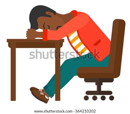 Man sleeping on table. - stock vector