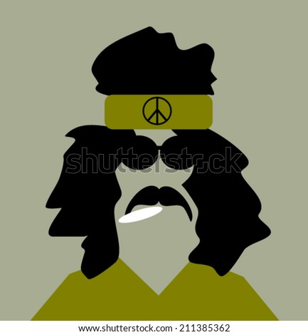 man smoking marijuana and wearing headband with peace sign - stock vector