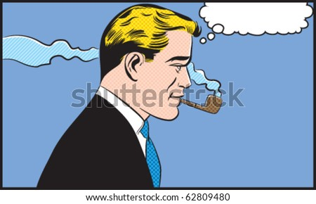 Man Smoking Pipe - Contains separate solid color and dot layers - stock vector