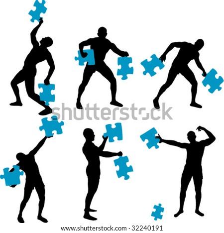 man solving big puzzle parts - stock vector