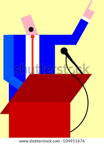 Man speaking at a podium - stock vector