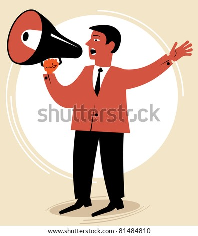 man speaks through the speaking-trumpet.figure business concept - stock vector