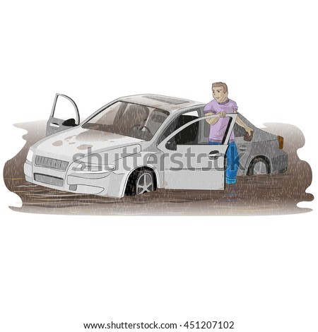 Man standing near his flooded car. - stock vector