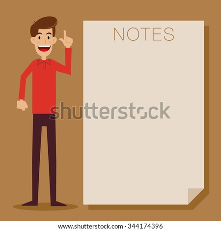 Man standing next to a blank note paper, vector cartoon