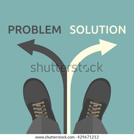 Man standing on arrow and choosing between problem and solution. Choice, challenge, business, success and strategy concept. EPS 8 vector illustration, no transparency - stock vector