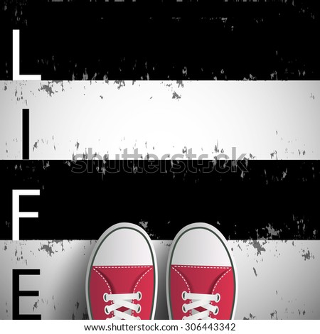 Man standing on black and white lines with the word life. Stock vector image. - stock vector