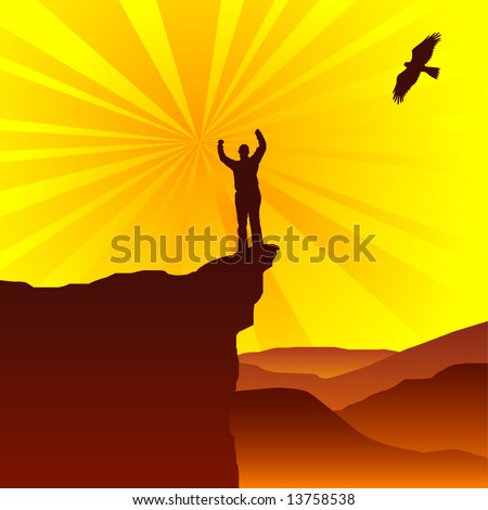 Man standing on top of cliff greeting the sun with eagle flying overhead - stock vector