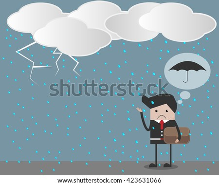 man standing with rain fall an for get umbrella.