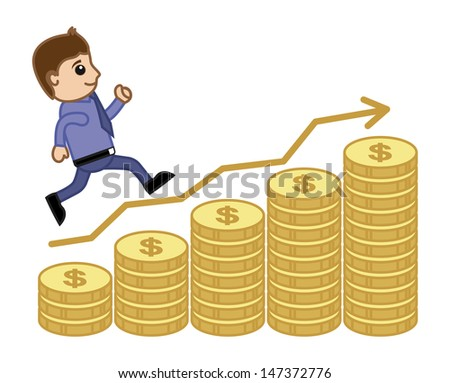 Man Stepping on Graph - Business cartoon Vectors - stock vector
