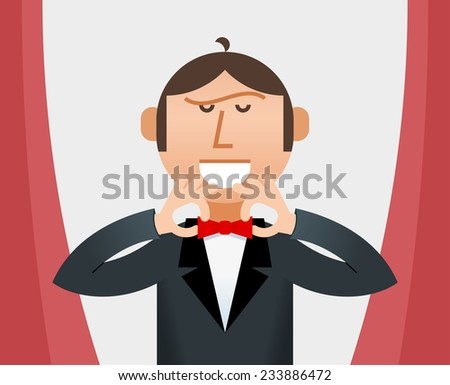Man Straightening His Tie  - stock vector