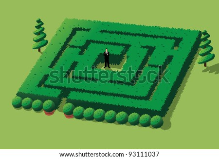 Man Stuck in Maze EPS 8 vector, grouped for easy editing. No open shapes or paths. - stock vector