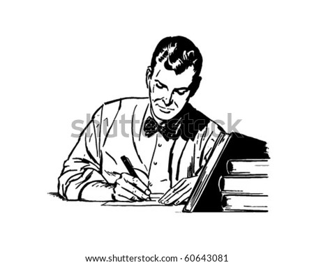 Man Studying - Retro Clip Art - stock vector