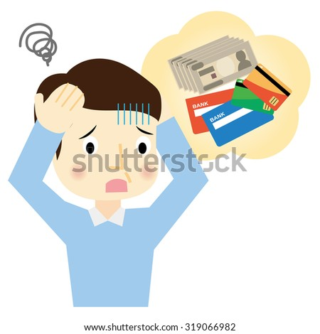 Man suffering from financial trouble - stock vector