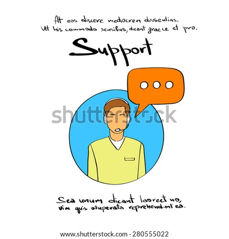 Man Support Chat Logo Hand Draw Color Icon Vector Illustration - stock vector