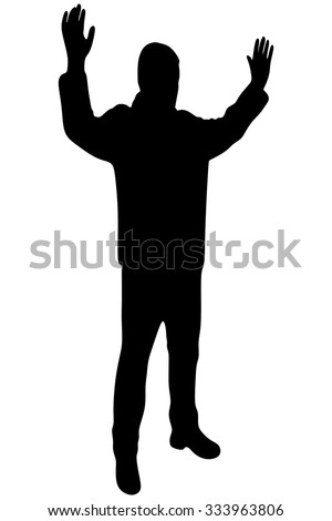 Man surrendering with both hands raised in air - stock vector
