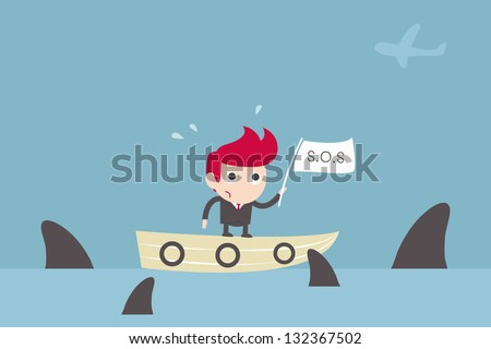 man surrounded by sharks. investment concept. - stock vector