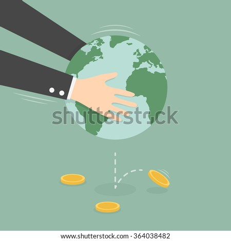 Man Taking Money Out of Globe. Business Concept Cartoon Illustration. - stock vector