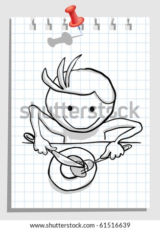 man that throw oneself on food - stock vector