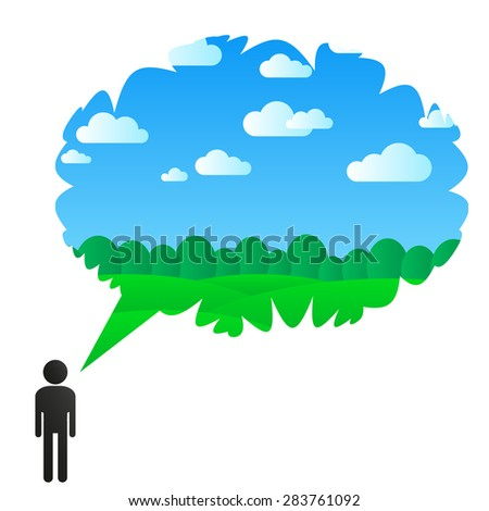 man think about nature - stock vector