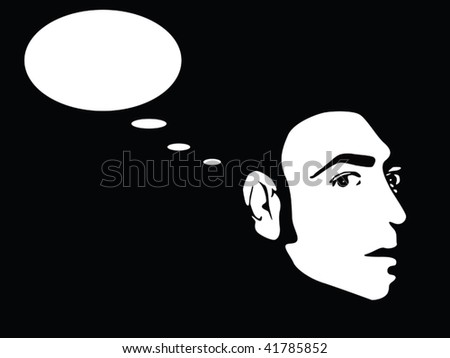 man thinking vector - stock vector