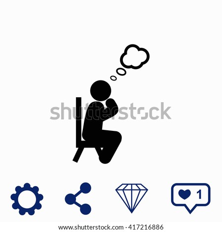 Man thinks icon. Universal icon to use in web and mobile UI - stock vector