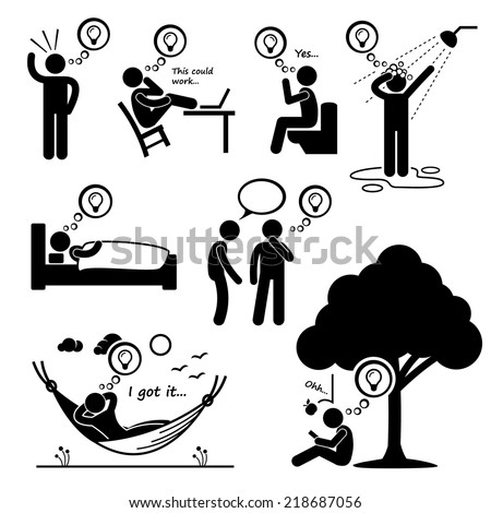 Man Thought of New Idea Stick Figure Pictogram Icons - stock vector