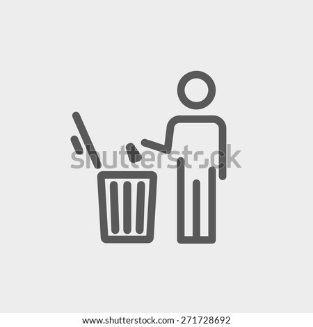 Man throwing garbage in a bin icon thin line for web and mobile, modern minimalistic flat design. Vector dark grey icon on light grey background. - stock vector