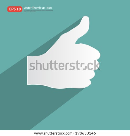 Man Thumbs up icon with shadow on vintage color background ,like & favorite concept