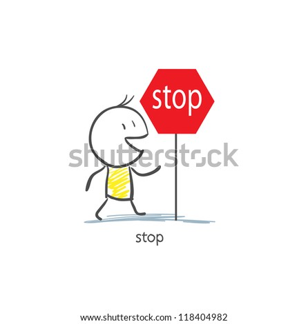 Man To Stop Sign - stock vector