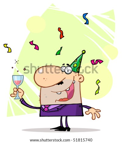 Man Toasting At A Party - stock vector