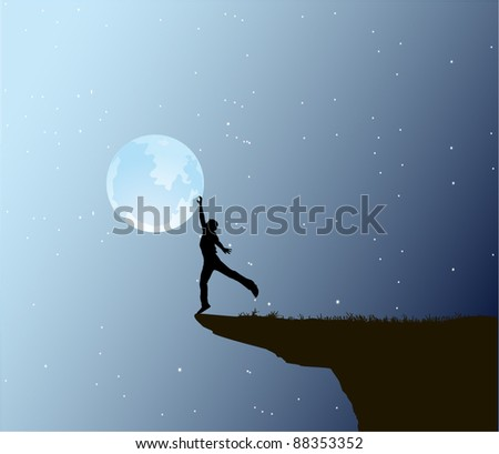 Man touch the moon