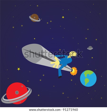 Man traveling in outer space in a rocket. EPS 8 Format Vector file. All related objects and placed in separate layers for easy editing.