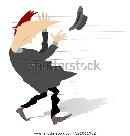 Man tries to catch a hat gone with the wind - stock vector