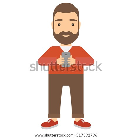 Man uses smartphone. Technology and communication concept flat cartoon vector icon.