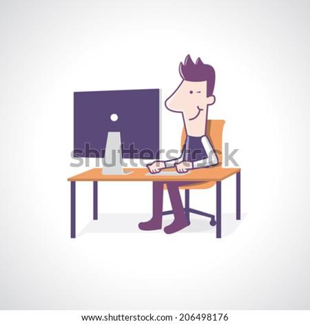 Man using at a cool computer - Vector Illustration - stock vector
