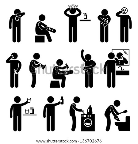 Man using Healthcare Product Hair Body Shampoo Lotion Facial Mask Eating Food Supplement Stick Figure Pictogram Icon - stock vector