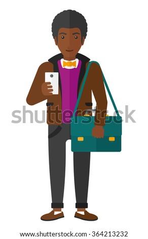 Man using smartphone. - stock vector